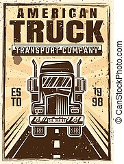 Truck on road vector advertising vintage poster