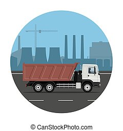 Truck on the industrial background