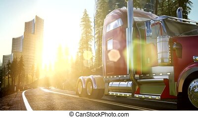 Truck on the road at sunset