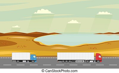 Truck on the road. Autumn rural landscape with lake. Heavy trailer truck. Logistic and delivery concept.