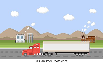 Truck on the road. Delivery concept.