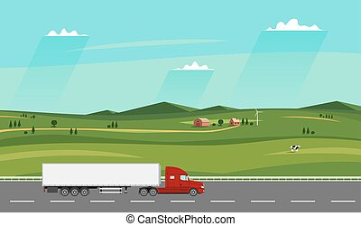 Truck on the road. Summer rural landscape with farm. Heavy trailer truck.