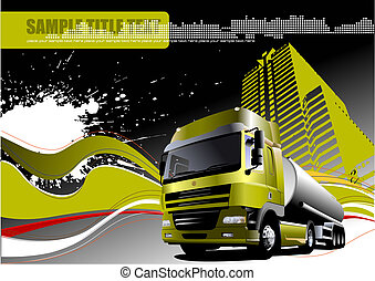 Truck on the road. Vector illustration