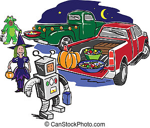 Truck or Treat - Kids trick or treating from the back of...