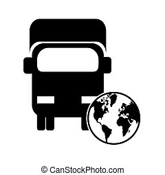 truck or van and earth globe icon