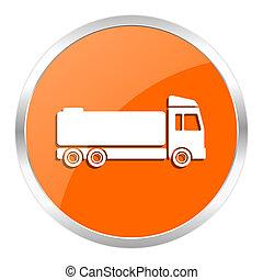 truck orange glossy icon