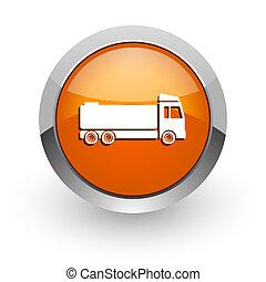 truck orange glossy web icon