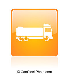 truck orange square glossy web icon
