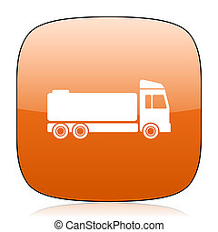 truck orange square web design glossy icon