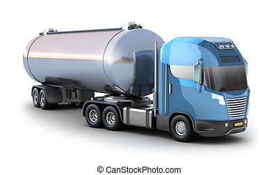 truck., pétrolier, huile, isolé, blanc