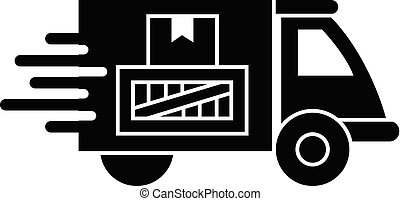 Truck parcel delivery icon, simple style