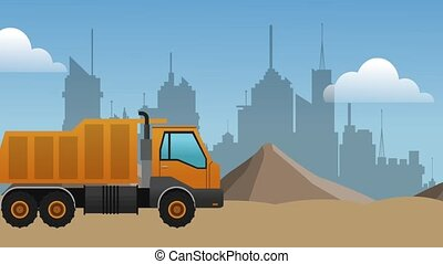 truck passing by construction zone over cityscape