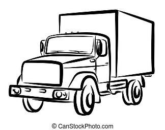 truck., pesado, bosquejo