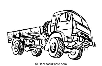truck., pesado, esboço