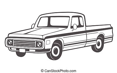truck., pick-up, vecteur, illustration.