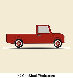 truck., pick-up, vecteur, retro, illustration