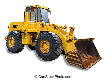 Truck - Front end loader on white, isolated with shadow and...