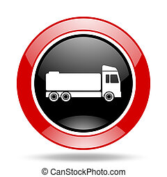 truck red and black web glossy round icon