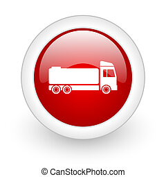 truck red circle glossy web icon on white background