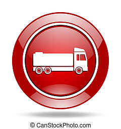 truck red web glossy round icon