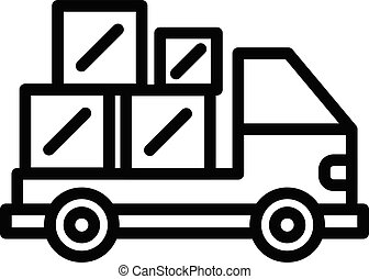Truck relocation icon, outline style - Truck relocation icon...