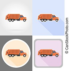 truck remove garbage flat icons vector illustration