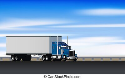 Truck rides on the abstract highway. Classic big rig semi truck with dry van on the road, vector illustration