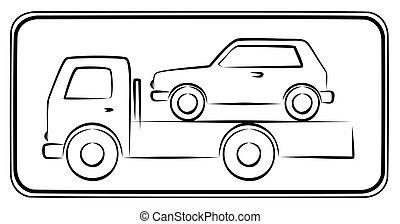 truck., rimorchio, segno strada