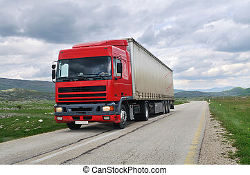 truck road - big truck drive on long country road
