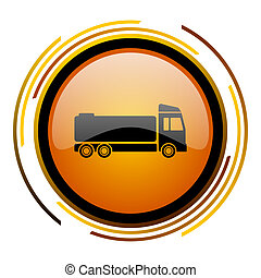 truck round design orange glossy web icon