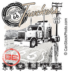 truck route66 Arizona - illustration for shirt printed and...