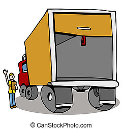 Truck Safety Inspection - An image of a man inspecting a...