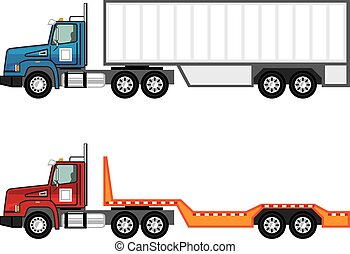 Truck semi and flatbed