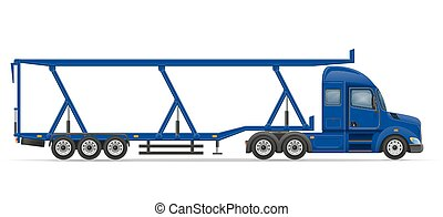 truck semi trailer for transportation of car vector illustration