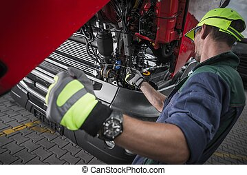 Truck Service Oil Level Check by Caucasian Worker Technician...