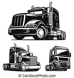 Truck SET black and white vector illustration