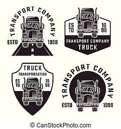 Truck set of four black vector vintage emblems