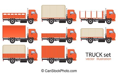 Truck set vector illustration isolated on white background. Transportation vehicle.