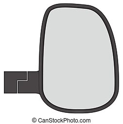 Truck Side Mirror - A truck or van side mirror isolated on a...
