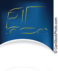 Truck silhouette design on blue background - Abstract truck...