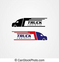 Truck silhouette icon vector design, logistics or delivery service logo.