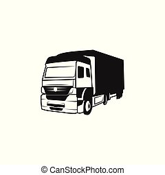 Truck silhouette moving logo design inspiration