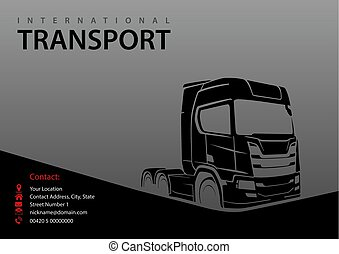 Truck Silhouette on Gray Background - Abstract Illustration...