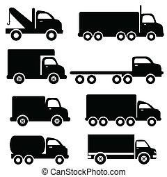 Truck silhouettes - Various truck silhouettes in black