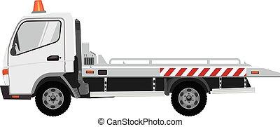 truck., solide, vecteur, design., blanc, couleur, plat, remorquage