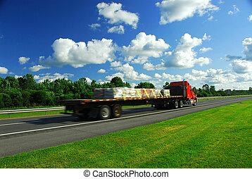 Truck speed road - Speeding truck on highway, blurred...