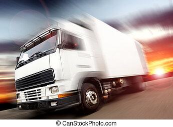 truck speed. Trucks delivering merchandise
