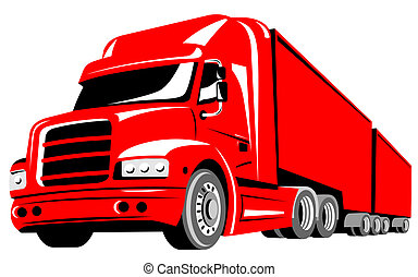 Truck - Illustration on transport