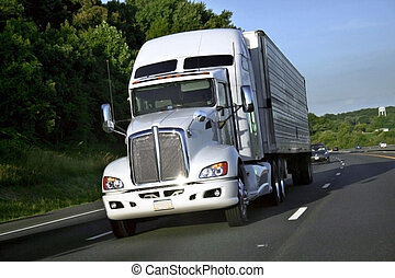 Truck  - Big truck of load in movement on highway.