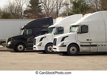Truck stop - Truck trailers on rest area at I-95